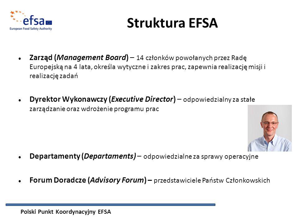 Struktura EFSA Zarząd (Management Board) – 14 członków powołanych przez Radę Europejską na 4 lata, określa wytyczne i zakres prac, zapewnia realizację misji i realizację zadań Dyrektor Wykonawczy (Executive Director) – odpowiedzialny za stałe zarządzanie oraz wdrożenie programu prac Departamenty (Departaments) – odpowiedzialne za sprawy operacyjne Forum Doradcze (Advisory Forum) – przedstawiciele Państw Członkowskich Polski Punkt Koordynacyjny EFSA