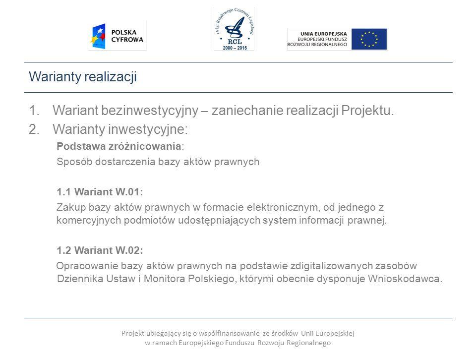 Projekt ubiegający się o współfinansowanie ze środków Unii Europejskiej w ramach Europejskiego Funduszu Rozwoju Regionalnego Warianty realizacji 1.Wariant bezinwestycyjny – zaniechanie realizacji Projektu.