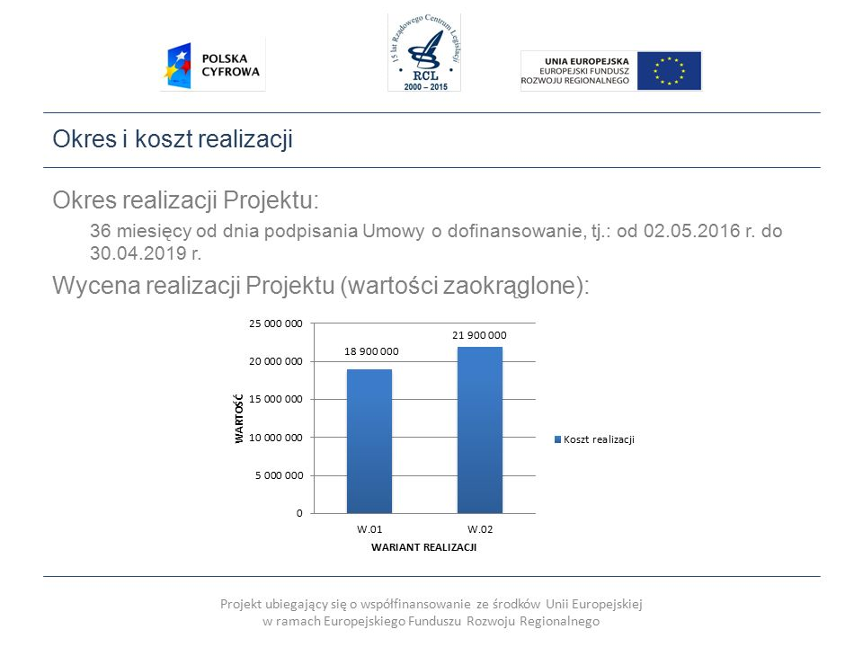 Projekt ubiegający się o współfinansowanie ze środków Unii Europejskiej w ramach Europejskiego Funduszu Rozwoju Regionalnego Wskaźniki Wskaźniki rezultatu: Wskaźniki produktu: Lp.WskaźnikJednostka miaryDocelowa wartość wskaźnika 1.Liczba pobrań/ odtworzeń dokumentów zawierających informacje sektora publicznego Szt.40 000 w ciągu roku od zakończenia realizacji Projektu 2.Liczba wygenerowanych kluczy APISzt.1 Lp.Miara produktuJednostka miaryDocelowa wartość wskaźnika 1.Liczba podmiotów, które udostępniły on-line informacje sektora publicznego Szt.1 2.Liczba zdigitalizowanych dokumentów zawierających informacje sektora publicznego Szt.116 000 3.Liczba udostępnionych on-line dokumentów zawierających informacje sektora publicznego Szt.116 000 4.Liczba utworzonych APISzt.1 5.Liczba baz danych udostępnionych on-line poprzez APISzt.1