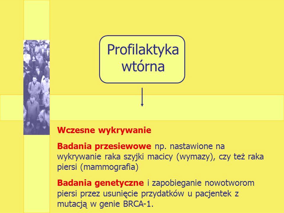 Profilaktyka wtórna Wczesne wykrywanie Badania przesiewowe np.