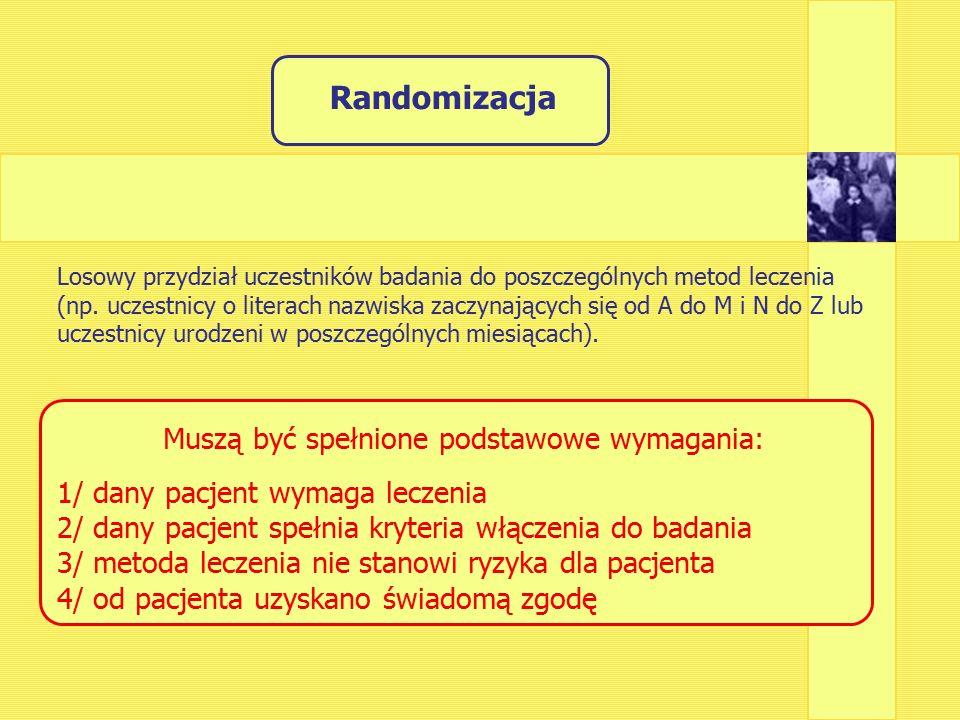 Randomizacja Losowy przydział uczestników badania do poszczególnych metod leczenia (np.