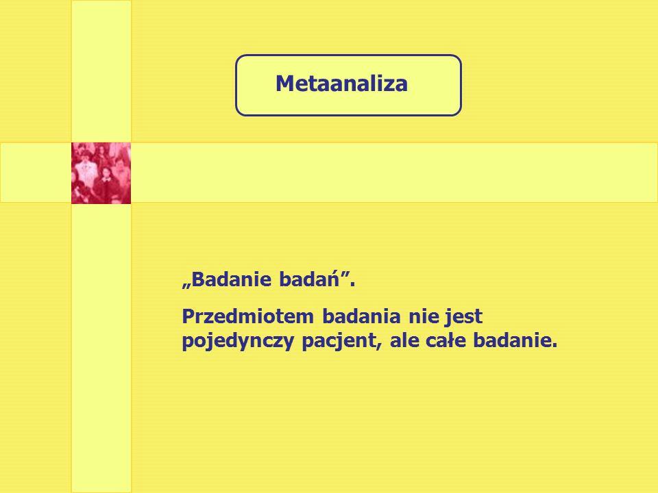 """Metaanaliza """"Badanie badań . Przedmiotem badania nie jest pojedynczy pacjent, ale całe badanie."""