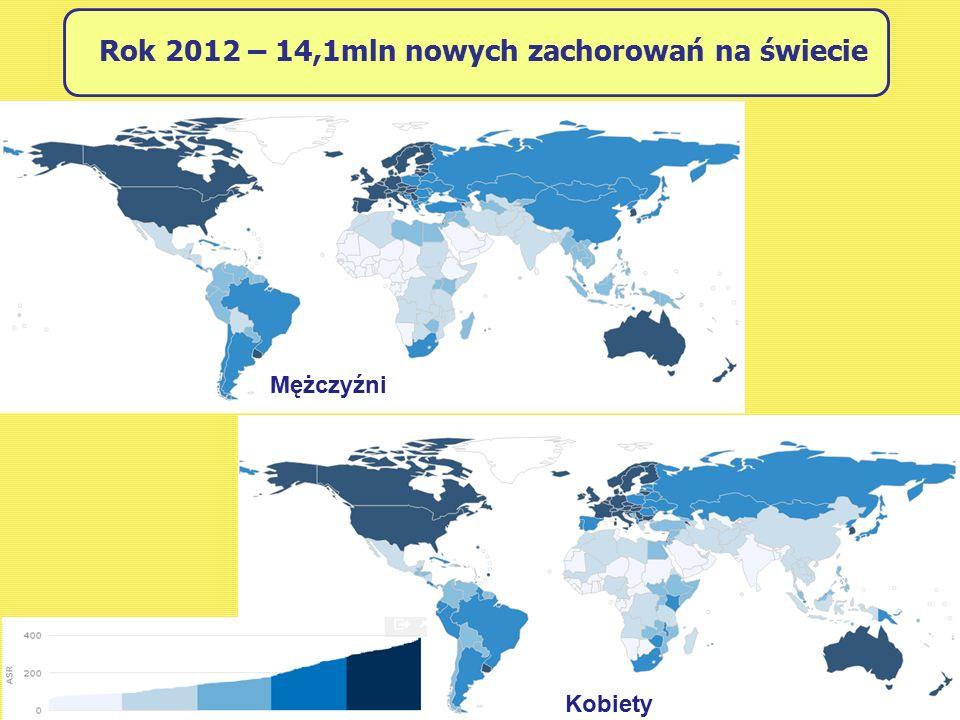Rok 2012 – 14,1mln nowych zachorowań na świecie Mężczyźni Kobiety