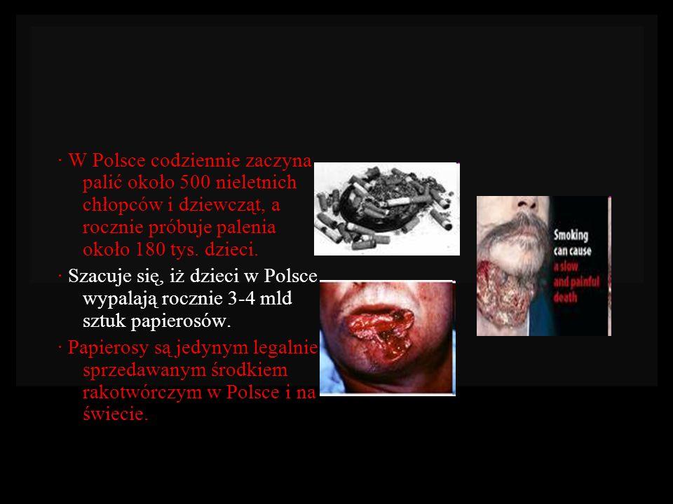 · W Polsce codziennie zaczyna palić około 500 nieletnich chłopców i dziewcząt, a rocznie próbuje palenia około 180 tys. dzieci. · Szacuje się, iż dzie