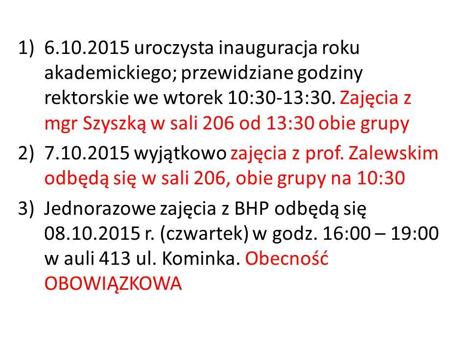 1)6.10.2015 uroczysta inauguracja roku akademickiego; przewidziane godziny rektorskie we wtorek 10:30-13:30.