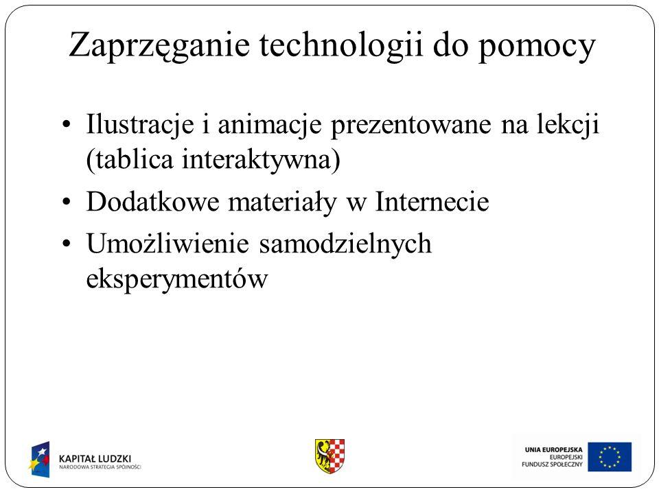 Zaprzęganie technologii do pomocy Ilustracje i animacje prezentowane na lekcji (tablica interaktywna) Dodatkowe materiały w Internecie Umożliwienie samodzielnych eksperymentów