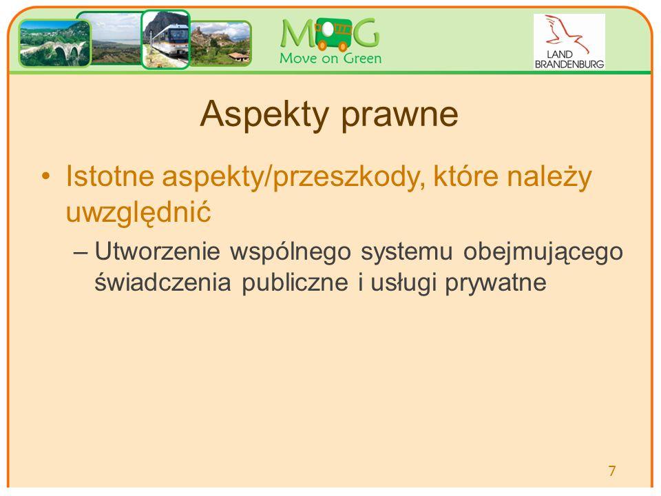 Aspekty prawne Istotne aspekty/przeszkody, które należy uwzględnić –Utworzenie wspólnego systemu obejmującego świadczenia publiczne i usługi prywatne 7