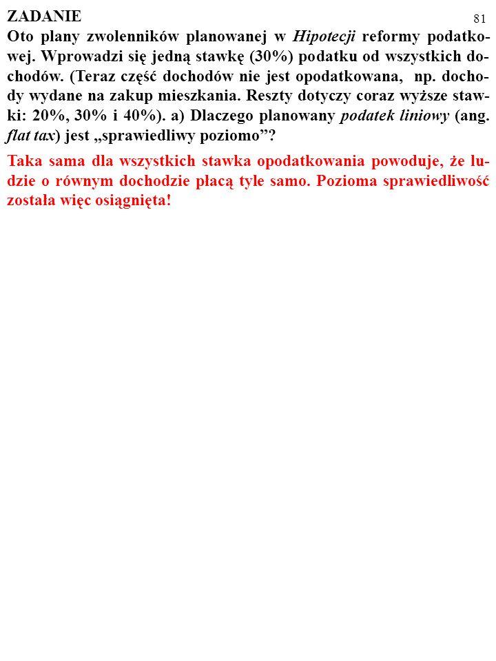 80 ZADANIE Oto plany zwolenników planowanej w Hipotecji reformy podatko- wej.