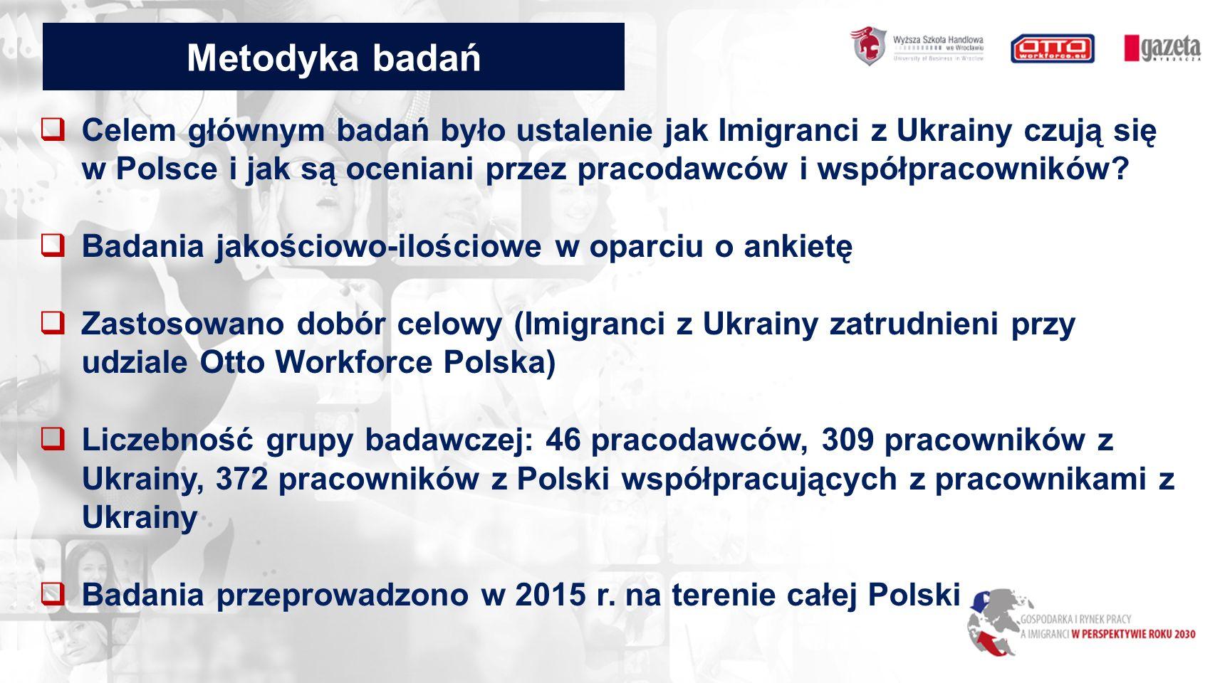 Metodyka badań  Celem głównym badań było ustalenie jak Imigranci z Ukrainy czują się w Polsce i jak są oceniani przez pracodawców i współpracowników.