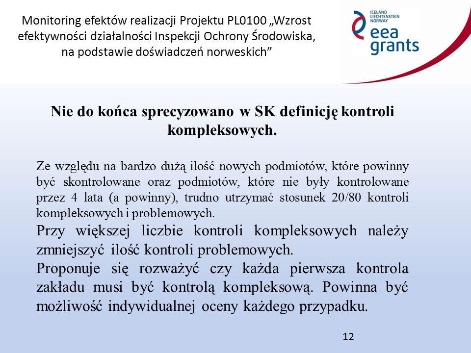 """Monitoring efektów realizacji Projektu PL0100 """"Wzrost efektywności działalności Inspekcji Ochrony Środowiska, na podstawie doświadczeń norweskich 12 Nie do końca sprecyzowano w SK definicję kontroli kompleksowych."""