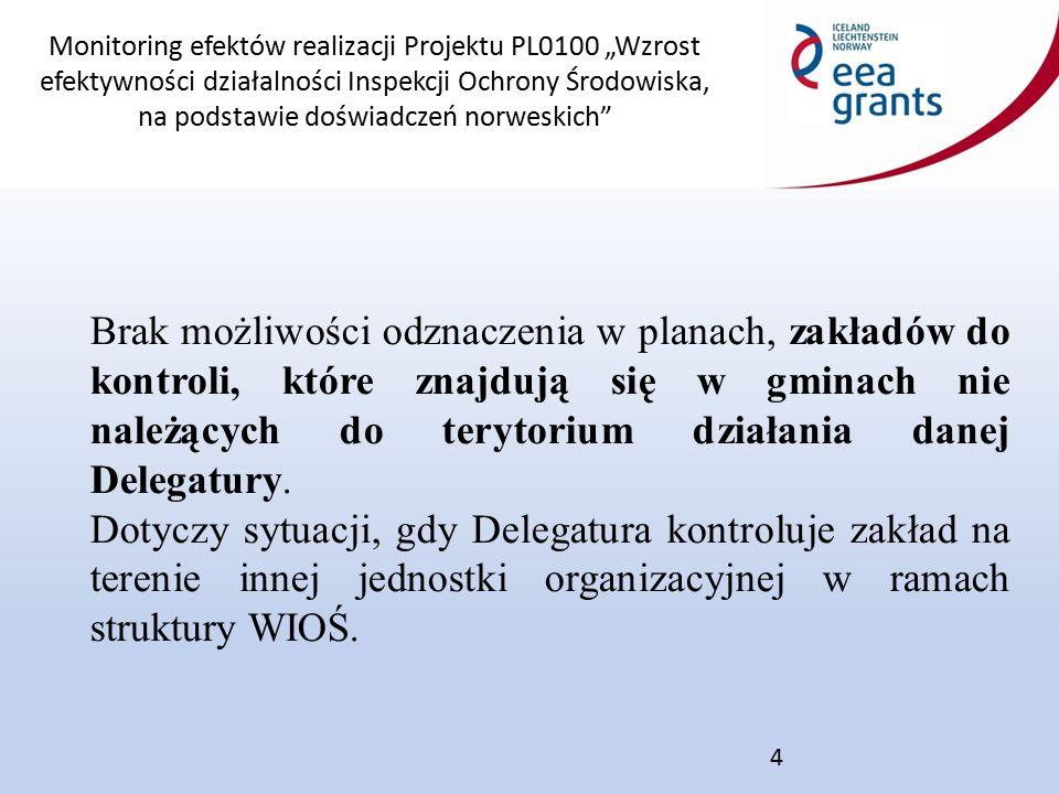 """Monitoring efektów realizacji Projektu PL0100 """"Wzrost efektywności działalności Inspekcji Ochrony Środowiska, na podstawie doświadczeń norweskich 4 Brak możliwości odznaczenia w planach, zakładów do kontroli, które znajdują się w gminach nie należących do terytorium działania danej Delegatury."""