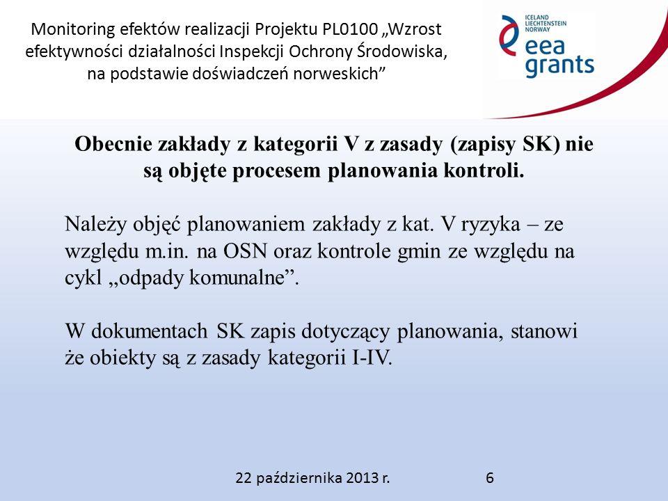 """Monitoring efektów realizacji Projektu PL0100 """"Wzrost efektywności działalności Inspekcji Ochrony Środowiska, na podstawie doświadczeń norweskich 22 października 2013 r.6 Obecnie zakłady z kategorii V z zasady (zapisy SK) nie są objęte procesem planowania kontroli."""