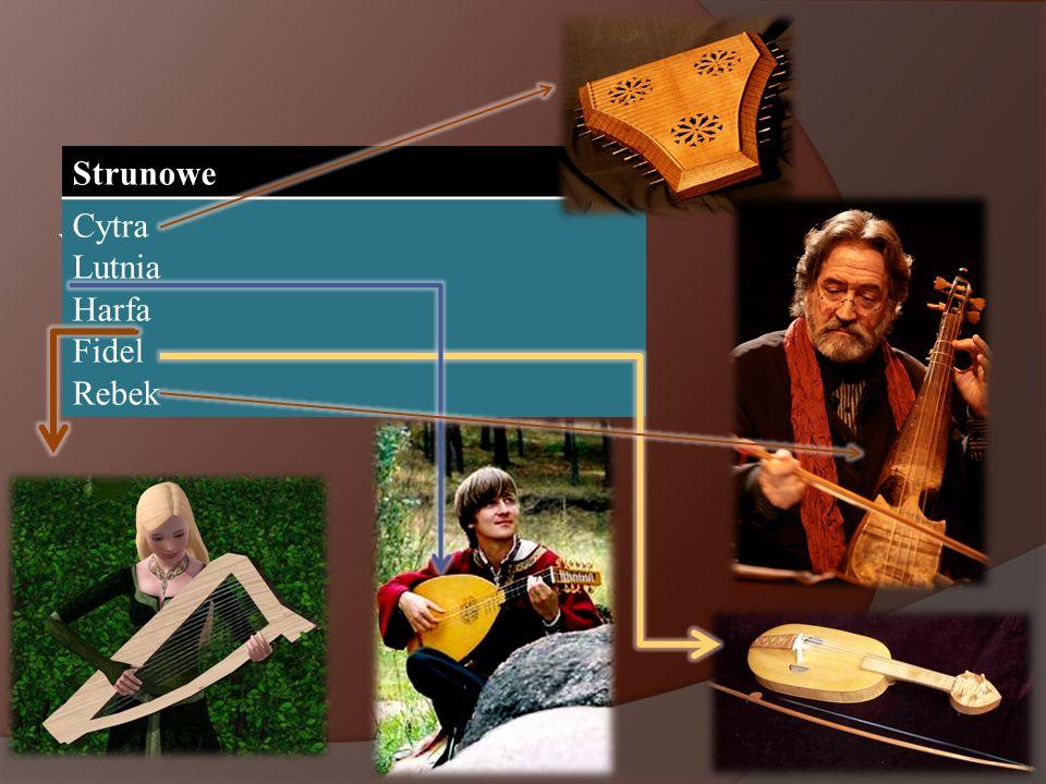 Wpisz w swojej tabeli instrumenty strunowe. Strunowe Cytra Lutnia Harfa Fidel Rebek