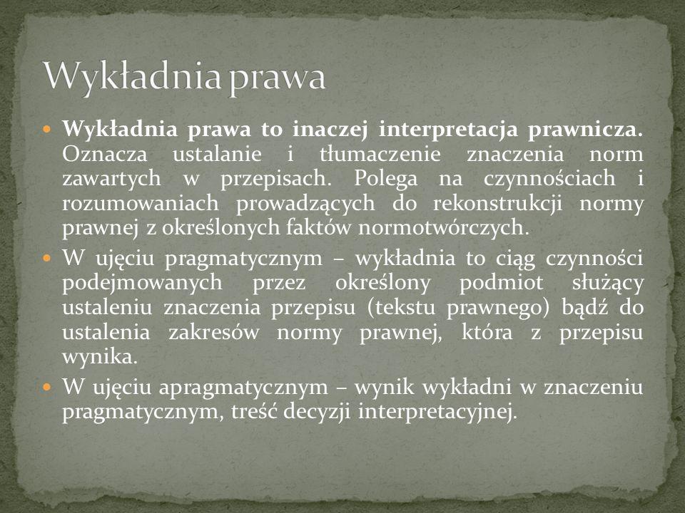 Wykładnia prawa to inaczej interpretacja prawnicza. Oznacza ustalanie i tłumaczenie znaczenia norm zawartych w przepisach. Polega na czynnościach i ro