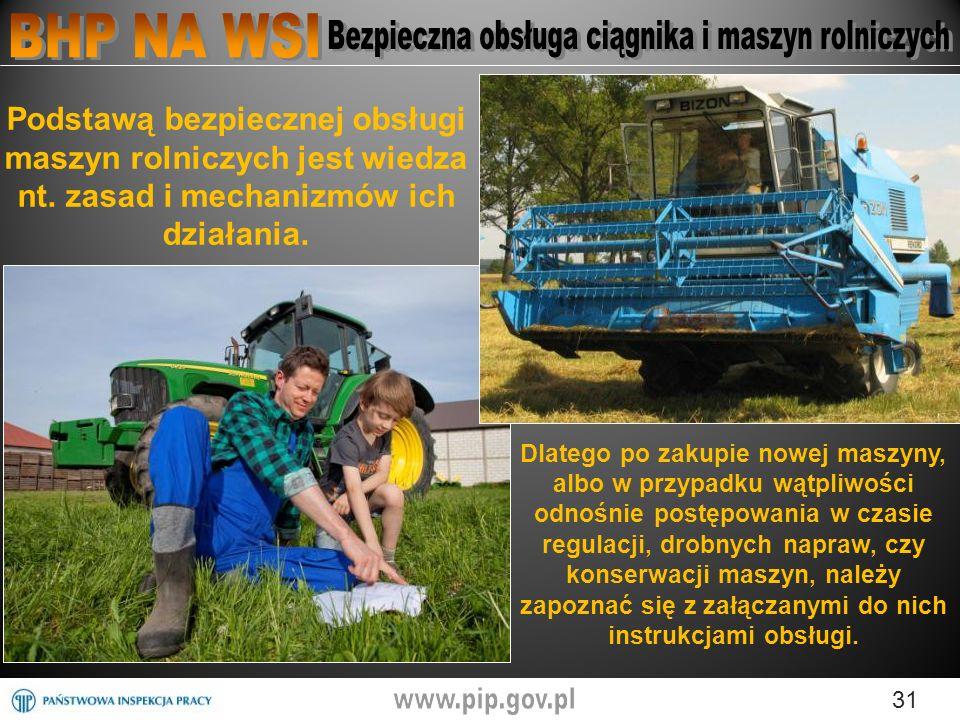 31 Podstawą bezpiecznej obsługi maszyn rolniczych jest wiedza nt.