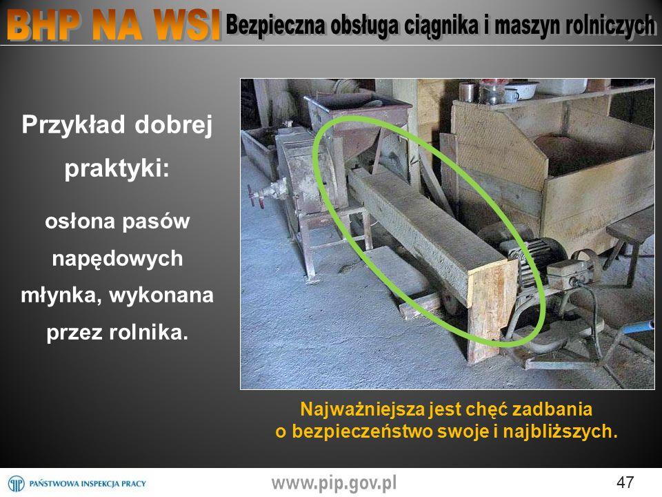 47 Przykład dobrej praktyki: osłona pasów napędowych młynka, wykonana przez rolnika.