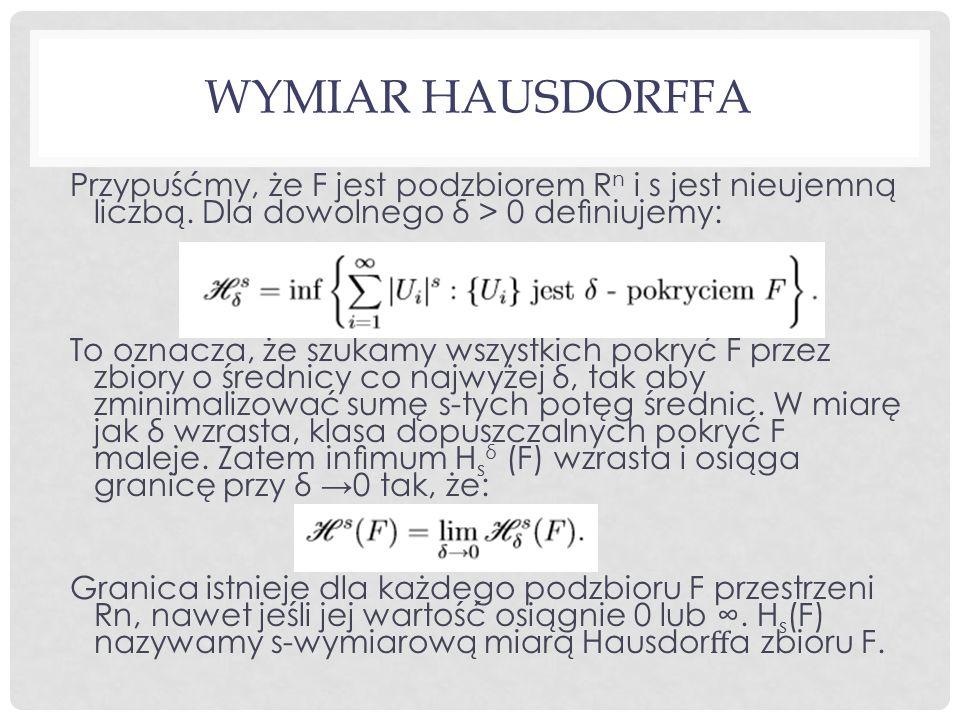 WYMIAR HAUSDORFFA Przypuśćmy, że F jest podzbiorem R n i s jest nieujemną liczbą.
