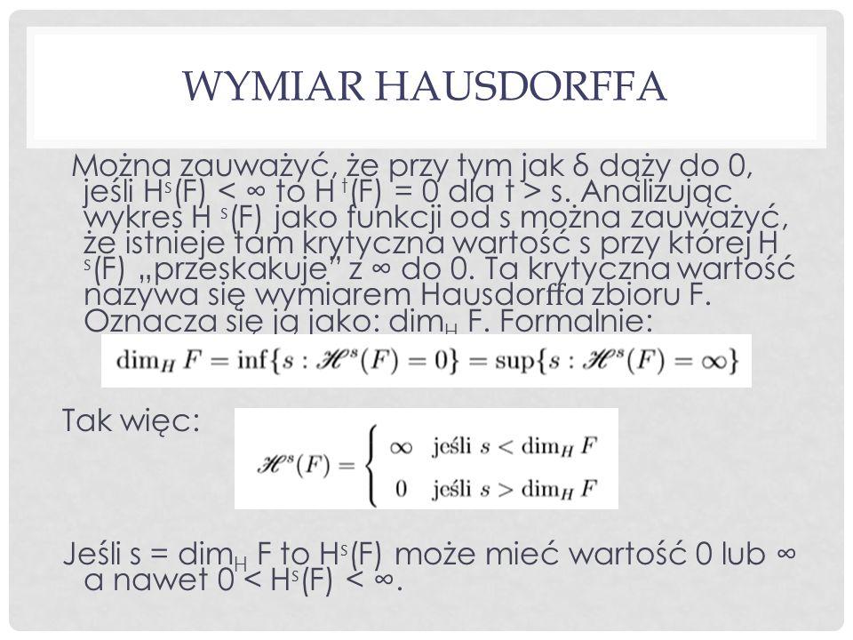 WYMIAR HAUSDORFFA Można zauważyć, że przy tym jak δ dąży do 0, jeśli H s (F) s. Analizując wykres H s (F) jako funkcji od s można zauważyć, że istniej