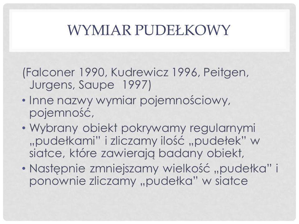 WYMIAR PUDEŁKOWY (Falconer 1990, Kudrewicz 1996, Peitgen, Jurgens, Saupe 1997) Inne nazwy wymiar pojemnościowy, pojemność, Wybrany obiekt pokrywamy re