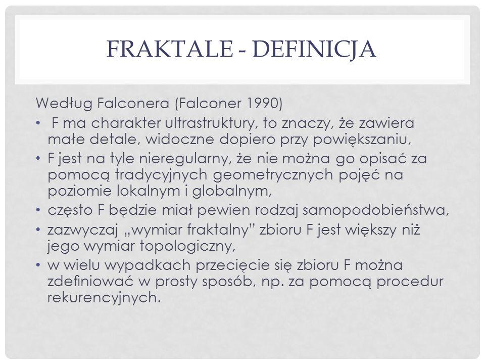 FRAKTALE - DEFINICJA Według Falconera (Falconer 1990) F ma charakter ultrastruktury, to znaczy, że zawiera małe detale, widoczne dopiero przy powiększ