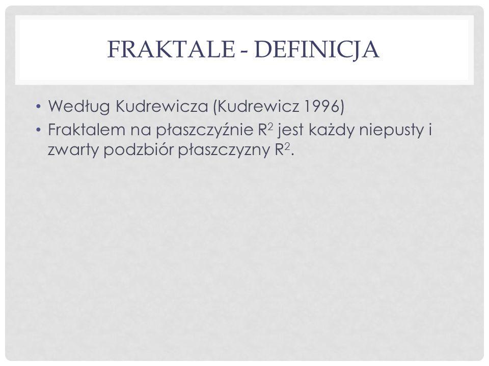 FRAKTALE - DEFINICJA Według Kudrewicza (Kudrewicz 1996) Fraktalem na płaszczyźnie R 2 jest każdy niepusty i zwarty podzbiór płaszczyzny R 2.