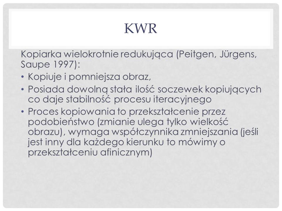 KWR Kopiarka wielokrotnie redukująca (Peitgen, Jürgens, Saupe 1997): Kopiuje i pomniejsza obraz, Posiada dowolną stała ilość soczewek kopiujących co d