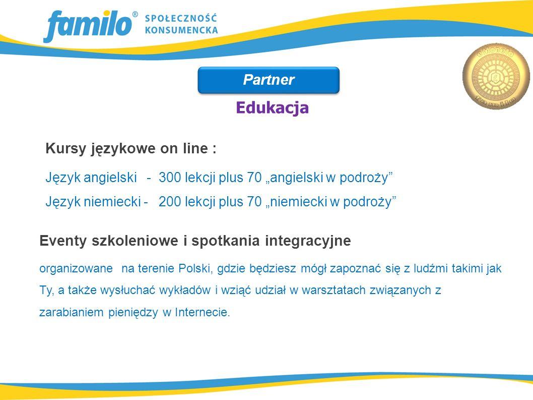 """Kursy językowe on line : Język angielski - 300 lekcji plus 70 """"angielski w podroży"""" Język niemiecki - 200 lekcji plus 70 """"niemiecki w podroży"""" Eventy"""