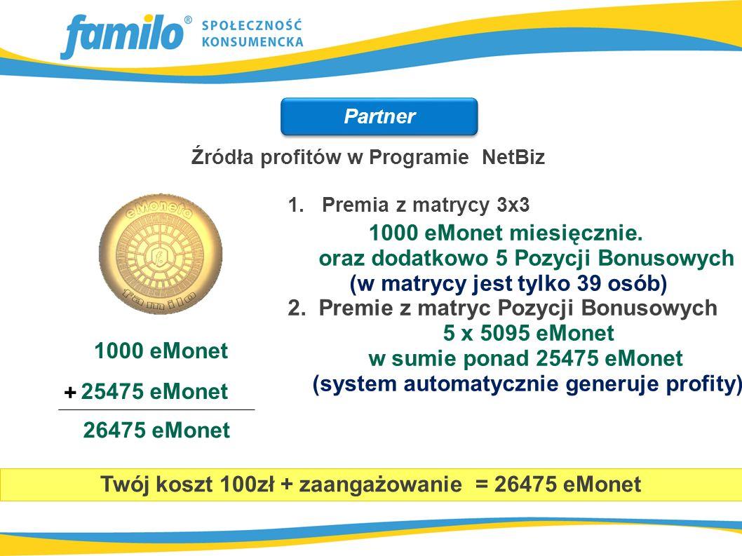 1. Premia z matrycy 3x3 1000 eMonet miesięcznie. oraz dodatkowo 5 Pozycji Bonusowych (w matrycy jest tylko 39 osób) 2. Premie z matryc Pozycji Bonusow