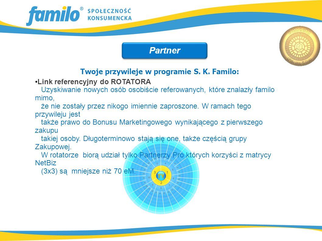 Twoje przywileje w programie S. K. Familo: Link referencyjny do ROTATORA Uzyskiwanie nowych osób osobiście referowanych, które znalazły familo mimo, ż