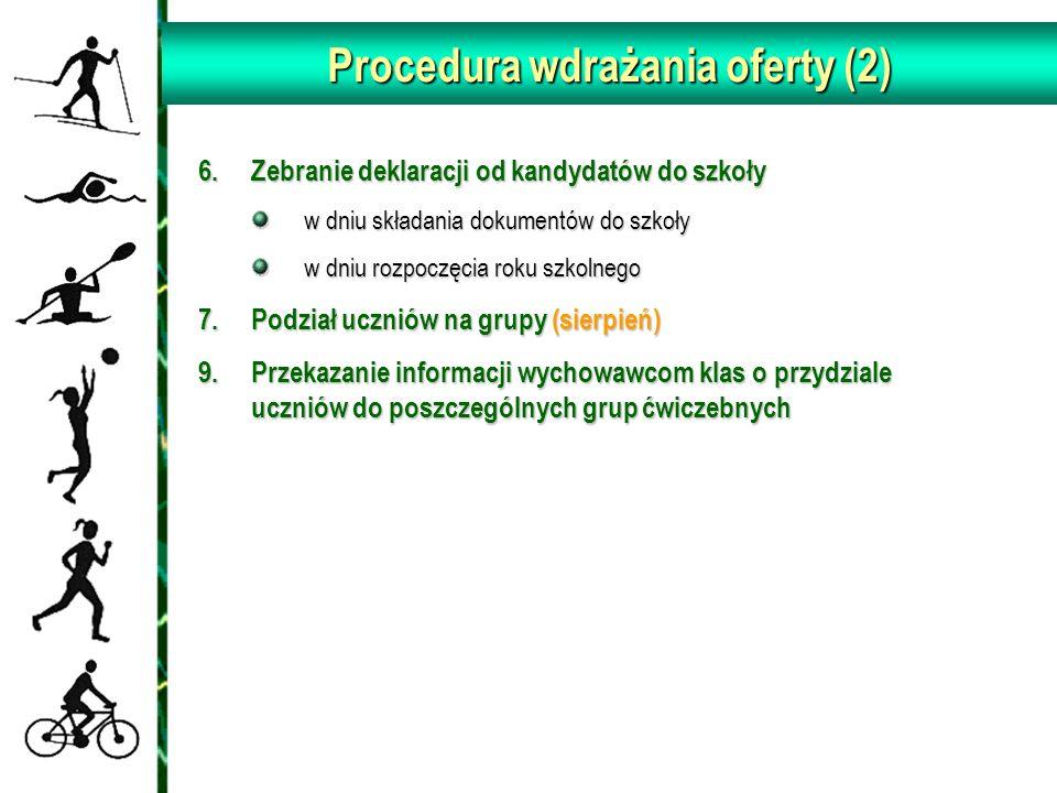 Procedura wdrażania oferty (2) 6.Zebranie deklaracji od kandydatów do szkoły w dniu składania dokumentów do szkoły w dniu rozpoczęcia roku szkolnego 7.Podział uczniów na grupy (sierpień) 9.Przekazanie informacji wychowawcom klas o przydziale uczniów do poszczególnych grup ćwiczebnych