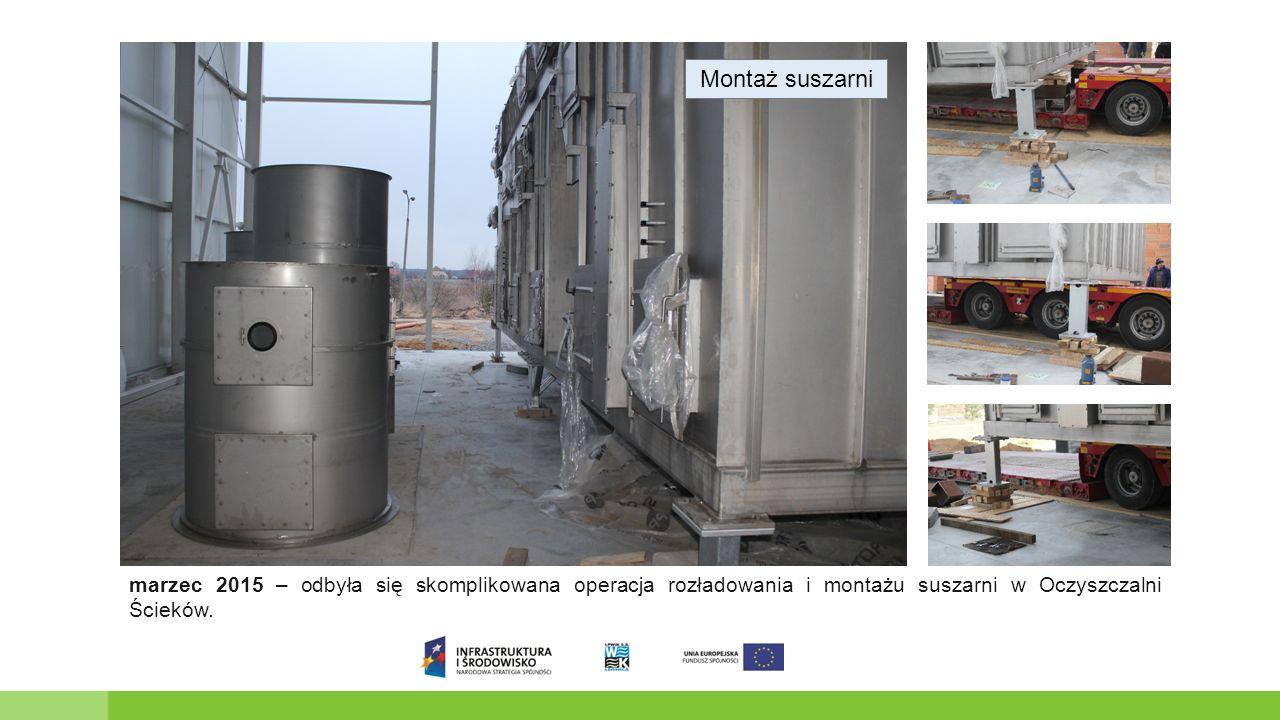 Montaż suszarni marzec 2015 – odbyła się skomplikowana operacja rozładowania i montażu suszarni w Oczyszczalni Ścieków.