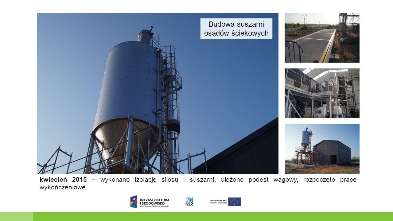 Budowa suszarni osadów ściekowych kwiecień 2015 – wykonano izolację silosu i suszarni, ułożono podest wagowy, rozpoczęto prace wykończeniowe.