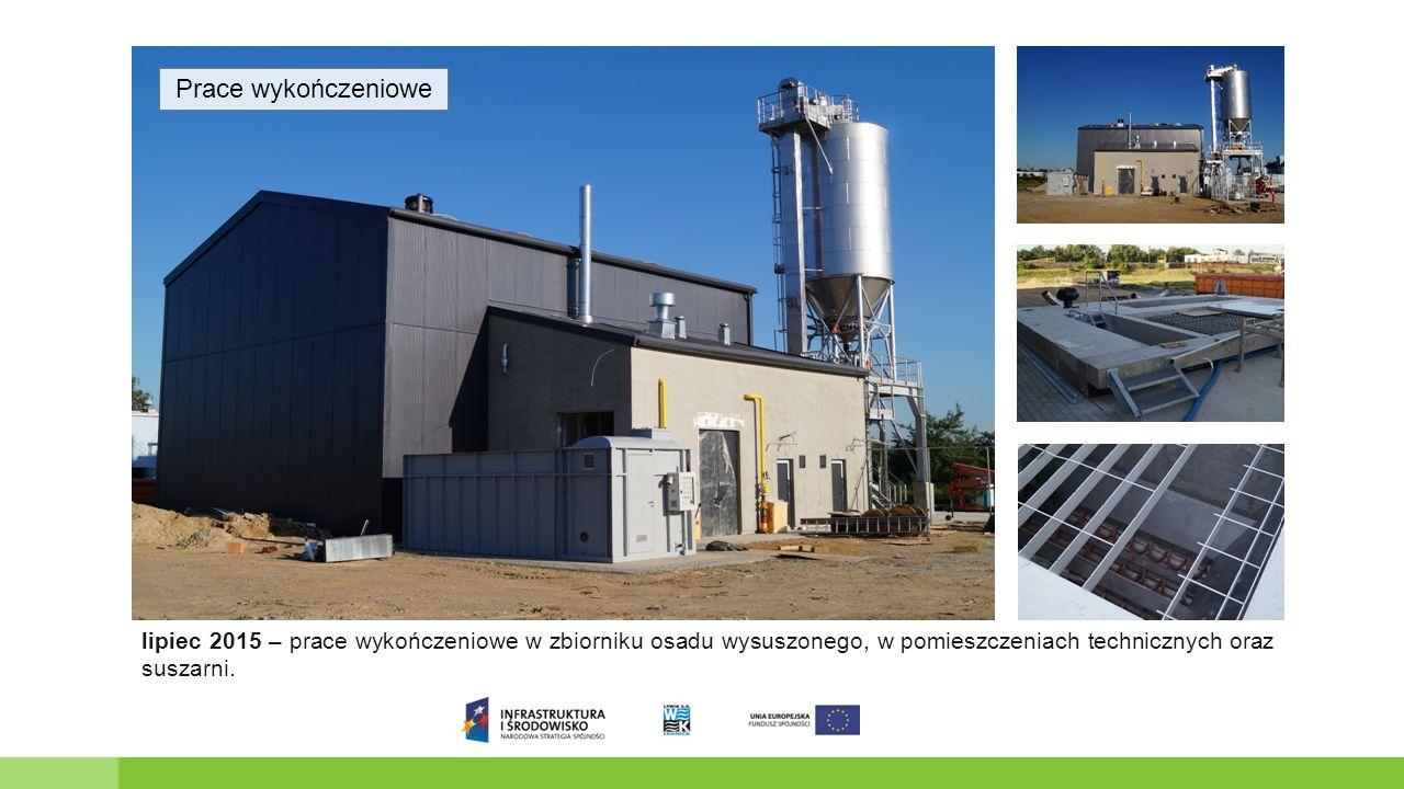 Prace wykończeniowe lipiec 2015 – prace wykończeniowe w zbiorniku osadu wysuszonego, w pomieszczeniach technicznych oraz suszarni.