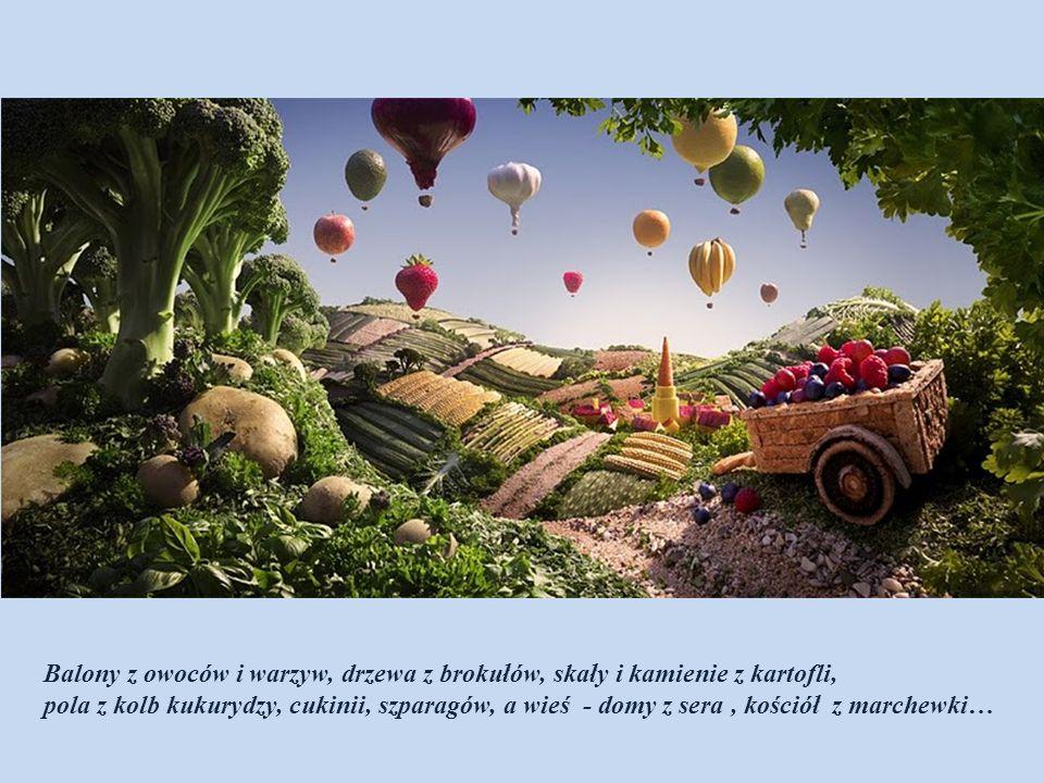 Drzewa i krzewy z brokułów, sałaty, pietruszki. Dom i studnia z sera, krakersów itp., itd