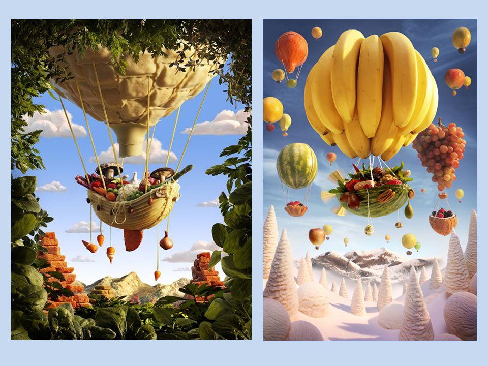 Balony z owoców i warzyw, drzewa z brokułów, skały i kamienie z kartofli, pola z kolb kukurydzy, cukinii, szparagów, a wieś - domy z sera, kościół z m