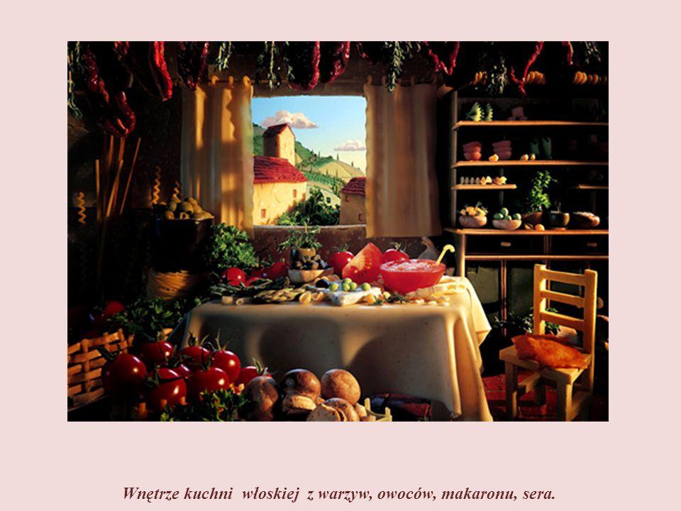 Domy z sera. Markizy nad oknami i kosze z makaronu. Drobne owoce i warzywa oraz nasiona zbóż ozdabiają uliczkę.