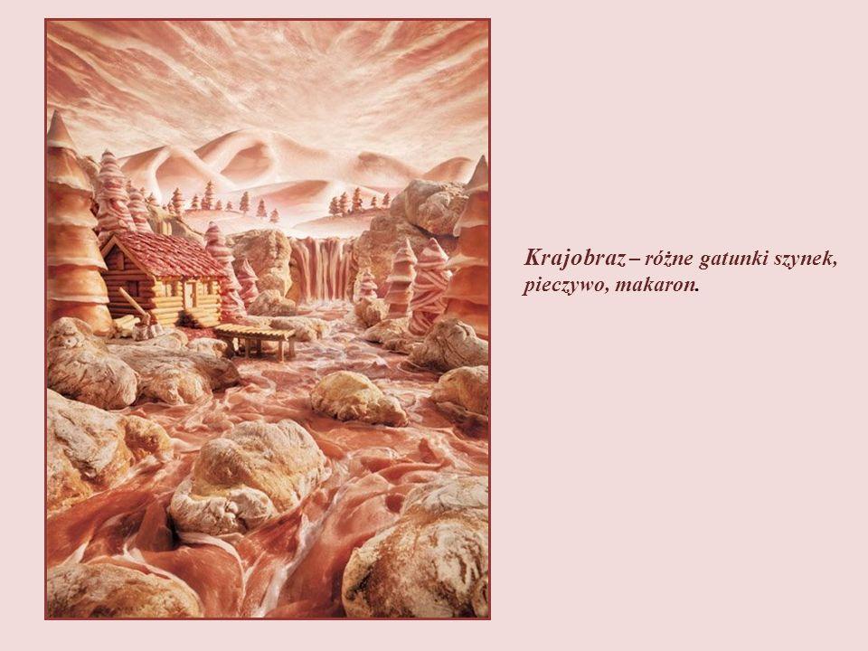 Krajobraz alpejski m.in. z surowej wędzonej szynki, pancetty (suszony, zwijany boczek), mortadeli i chleba.