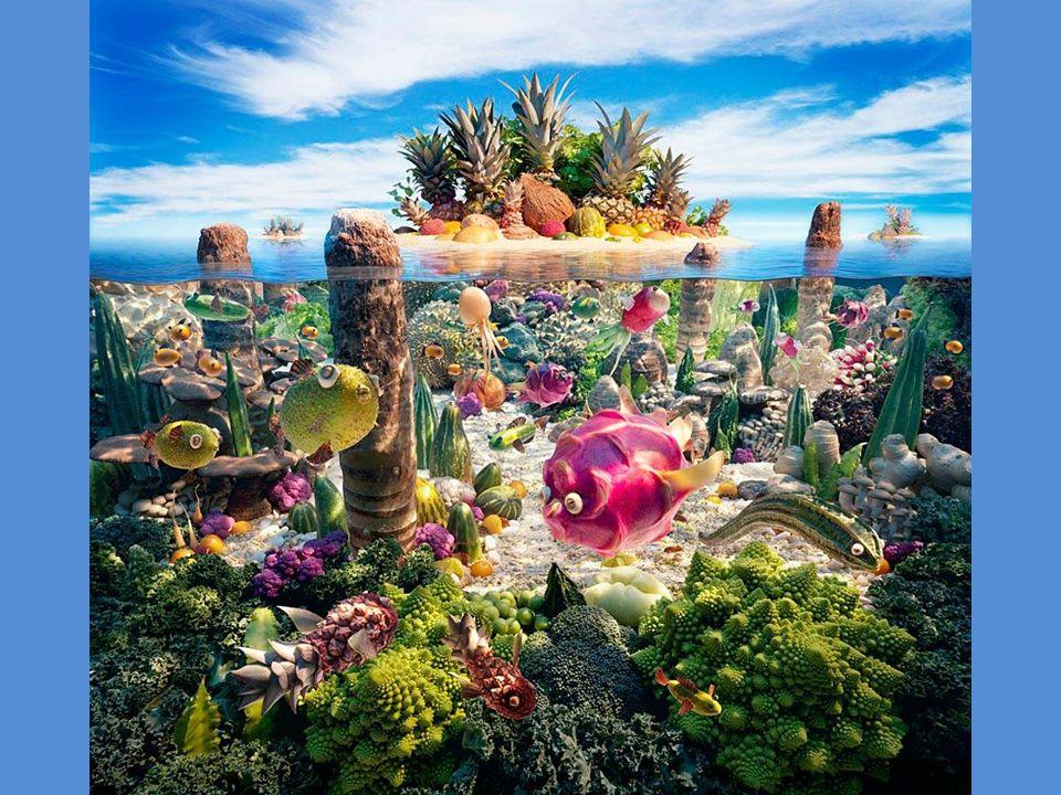 Jaskinia z owoców morza, stalaktyty to marchewki, kamienie z chleba, w dali kalafior.