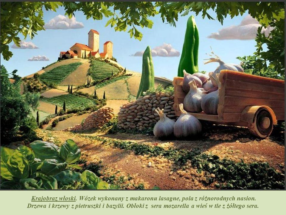 Drzewa i krzewy są z brokułów, fasolki, bazylii. Dróżki wysypane kminem rzymskim, skały z chleba. Chmury, które ozdabiają niebo to kalafior.