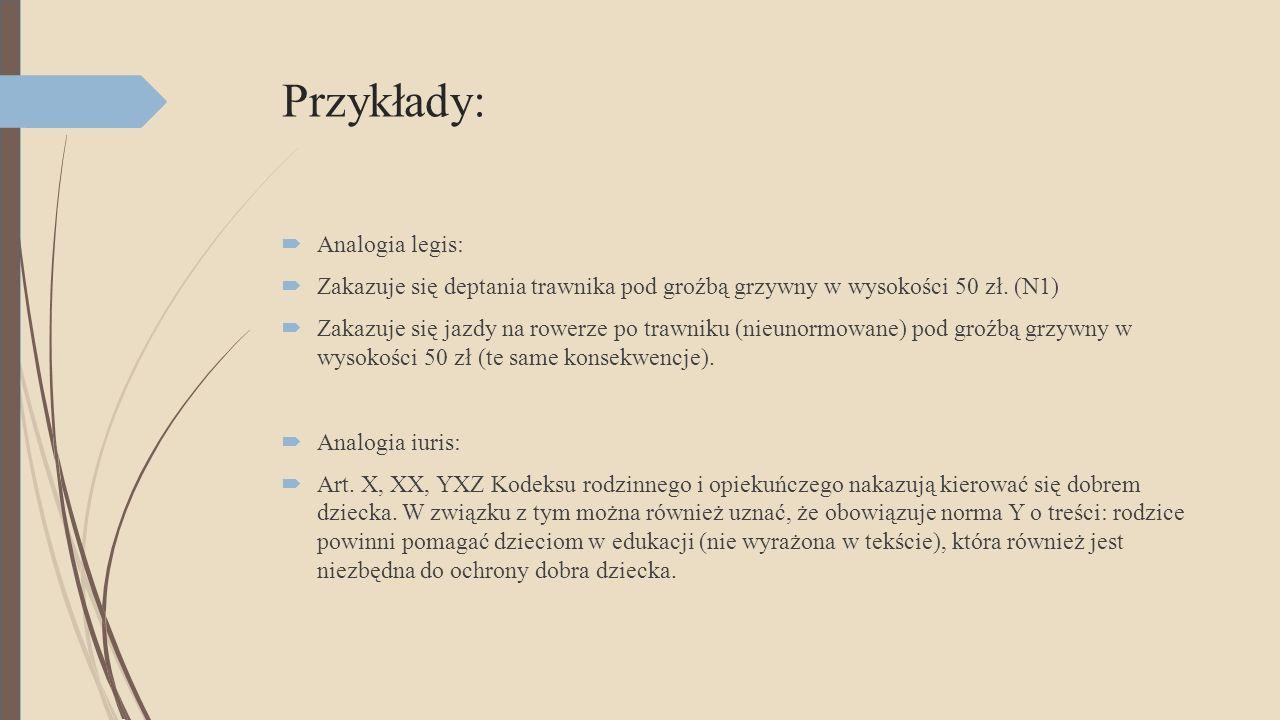 Przykłady:  Analogia legis:  Zakazuje się deptania trawnika pod groźbą grzywny w wysokości 50 zł.