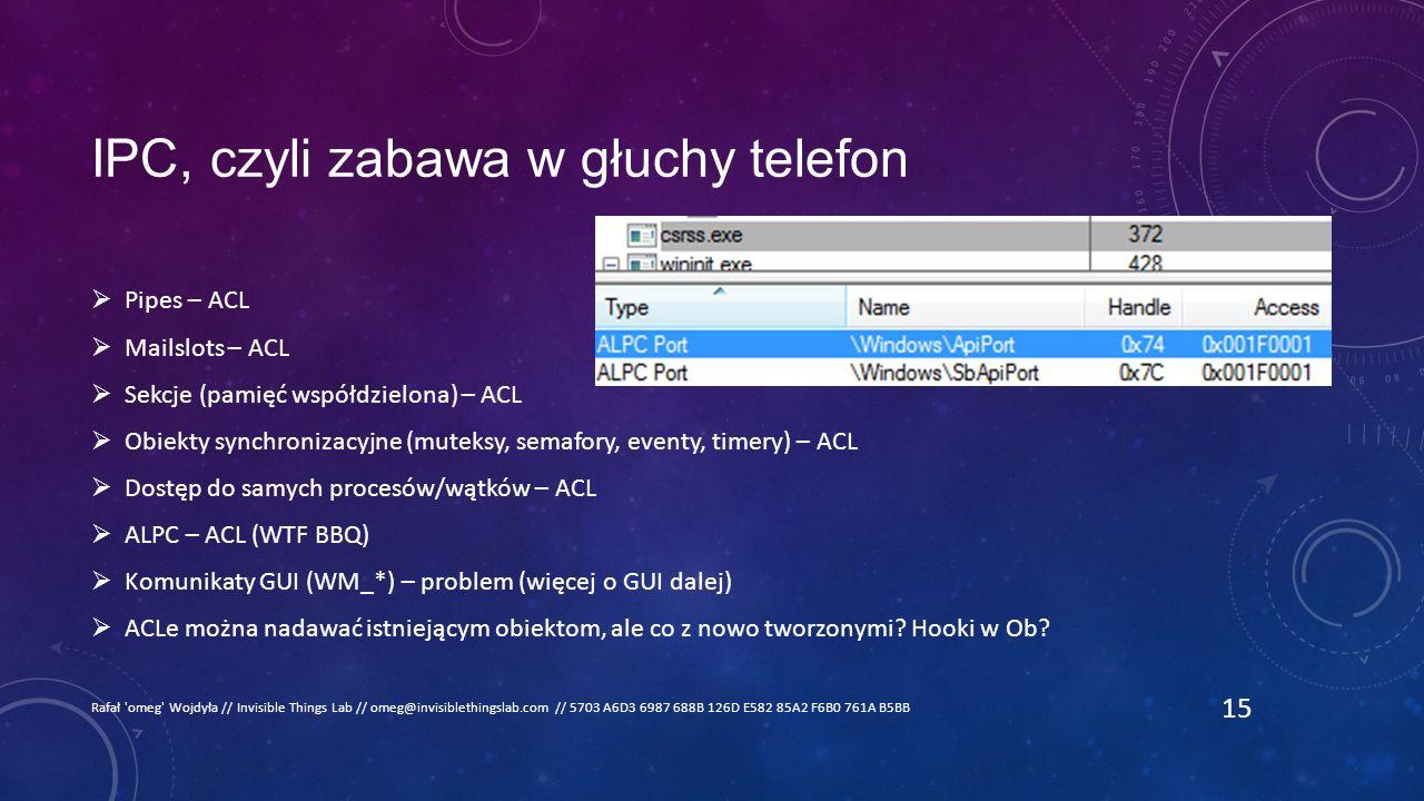 IPC, czyli zabawa w głuchy telefon  Pipes – ACL  Mailslots – ACL  Sekcje (pamięć współdzielona) – ACL  Obiekty synchronizacyjne (muteksy, semafory, eventy, timery) – ACL  Dostęp do samych procesów/wątków – ACL  ALPC – ACL (WTF BBQ)  Komunikaty GUI (WM_*) – problem (więcej o GUI dalej)  ACLe można nadawać istniejącym obiektom, ale co z nowo tworzonymi.