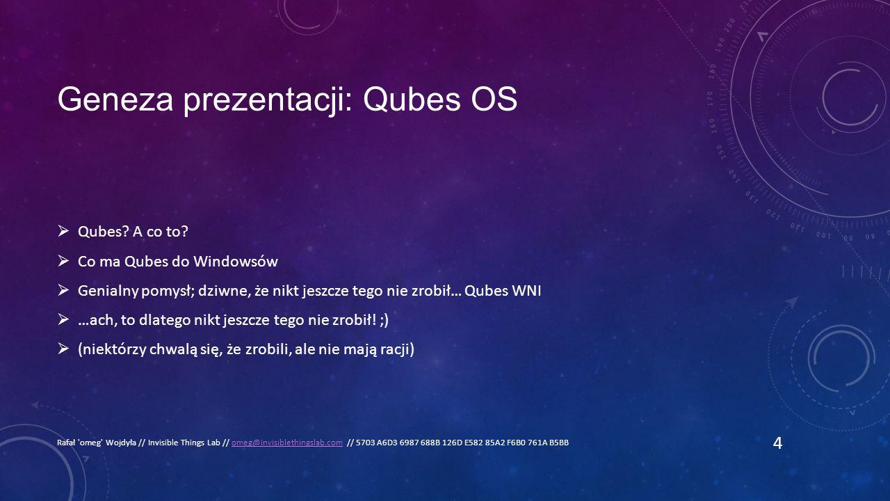 Geneza prezentacji: Qubes OS  Qubes. A co to.