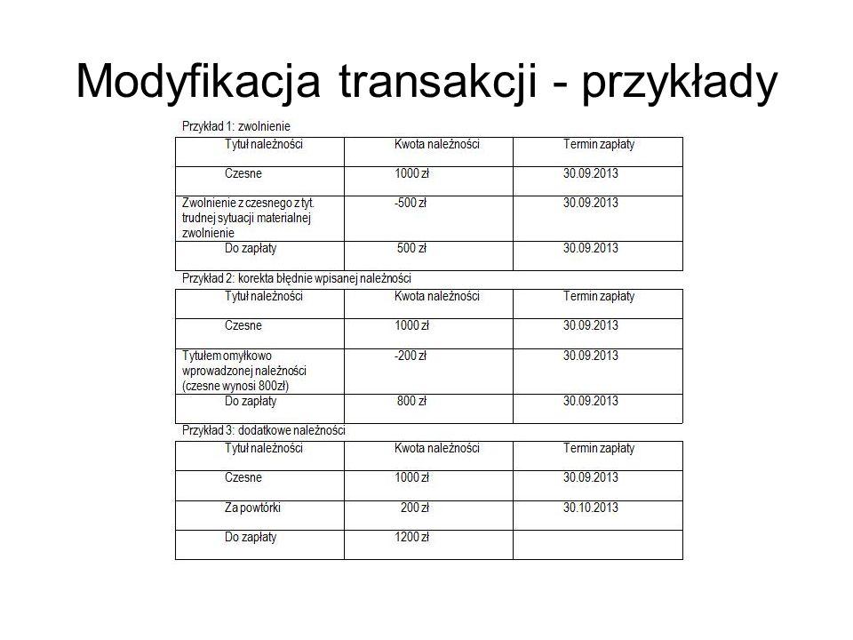 Modyfikacja transakcji - przykłady