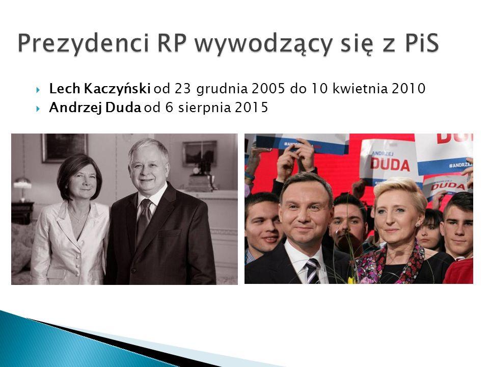  Lech Kaczyński od 23 grudnia 2005 do 10 kwietnia 2010  Andrzej Duda od 6 sierpnia 2015