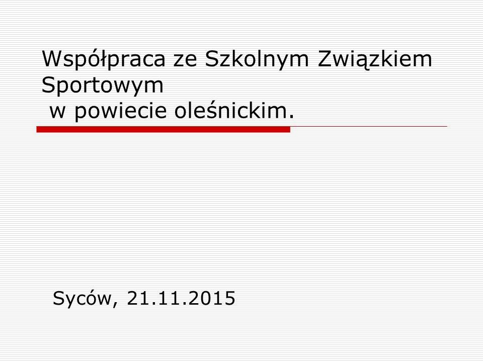 Współpraca ze Szkolnym Związkiem Sportowym w powiecie oleśnickim. Syców, 21.11.2015