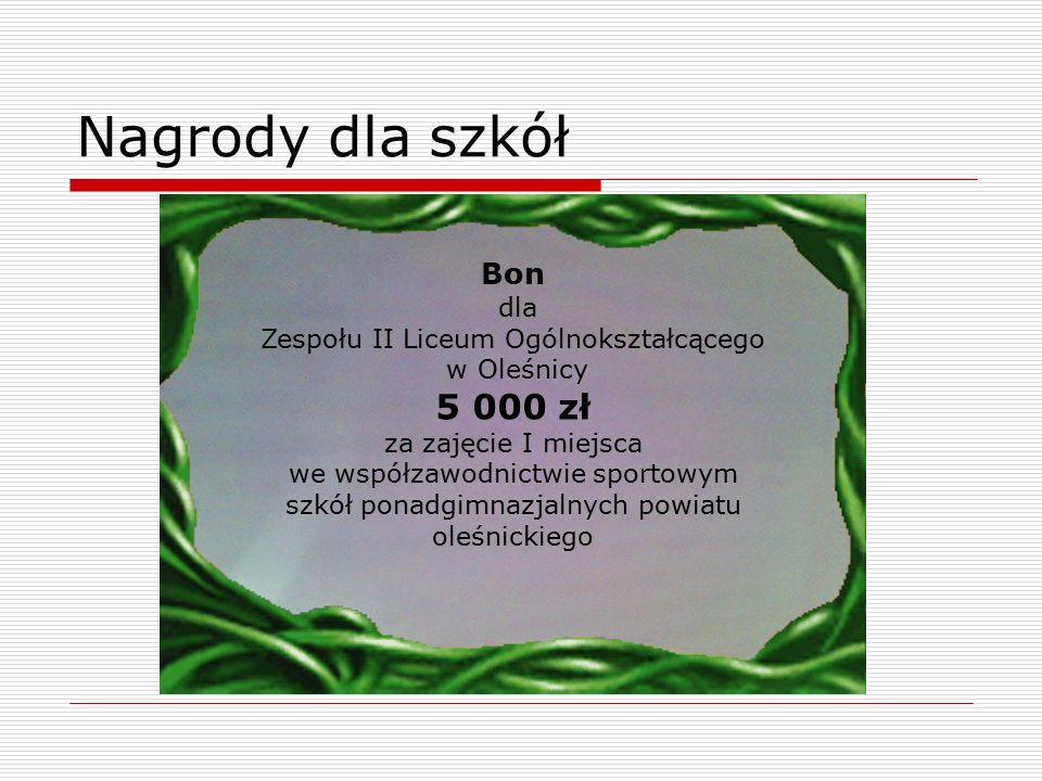 Nagrody dla szkół Bon dla Zespołu II Liceum Ogólnokształcącego w Oleśnicy 5 000 zł za zajęcie I miejsca we współzawodnictwie sportowym szkół ponadgimn