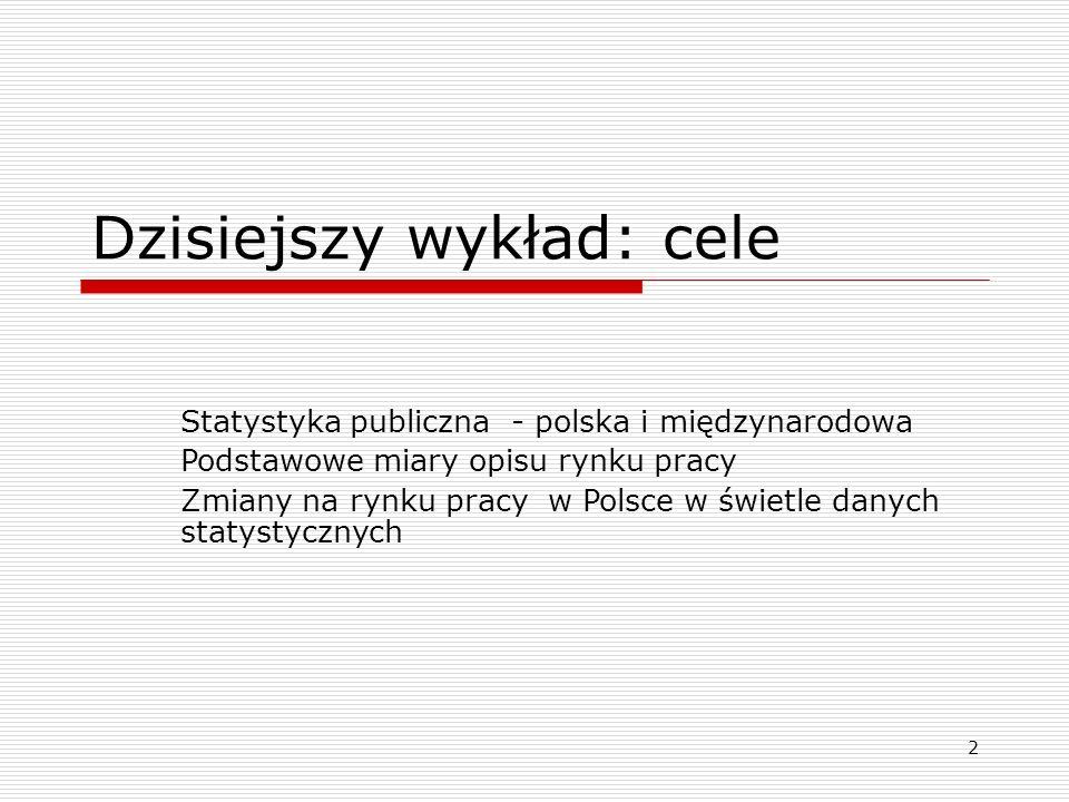 2 Dzisiejszy wykład: cele Statystyka publiczna - polska i międzynarodowa Podstawowe miary opisu rynku pracy Zmiany na rynku pracy w Polsce w świetle danych statystycznych