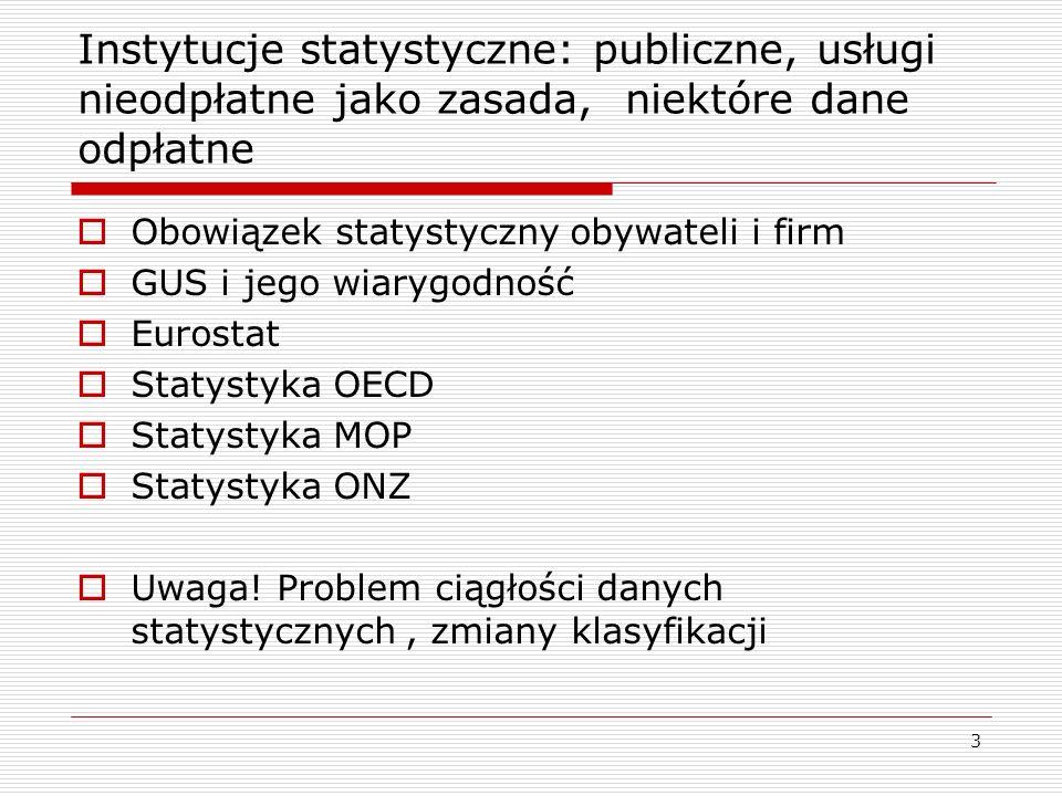 3 Instytucje statystyczne: publiczne, usługi nieodpłatne jako zasada, niektóre dane odpłatne  Obowiązek statystyczny obywateli i firm  GUS i jego wiarygodność  Eurostat  Statystyka OECD  Statystyka MOP  Statystyka ONZ  Uwaga.