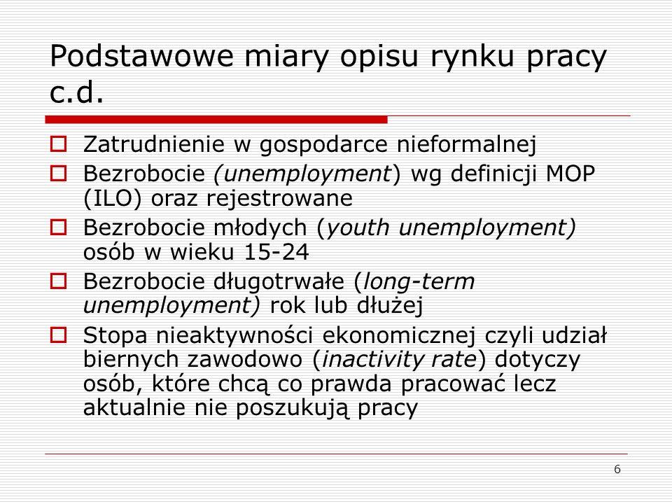 6 Podstawowe miary opisu rynku pracy c.d.
