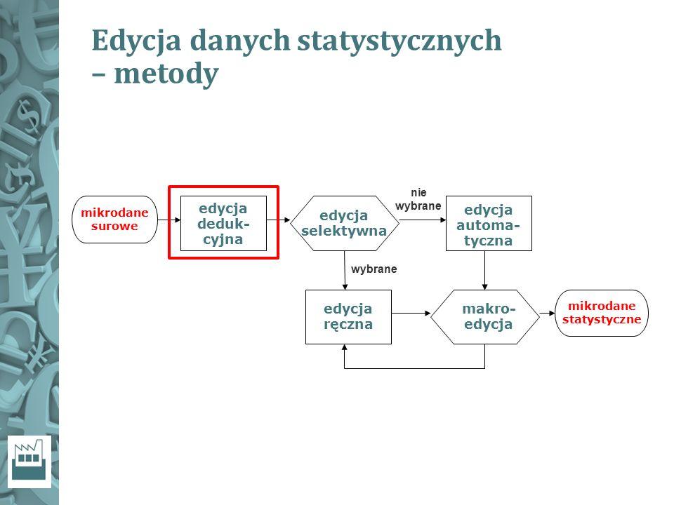 Edycja danych statystycznych – metody edycja deduk- cyjna edycja selektywna nie wybrane wybrane edycja ręczna edycja automa- tyczna makro- edycja mikr